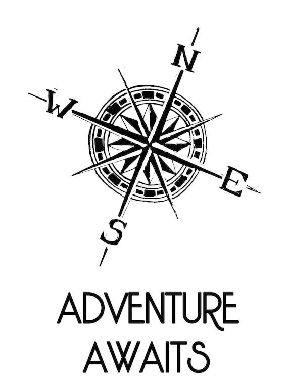 Adventure Awaitscompassposterdigital Drawing