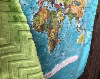 World map blanket etsy world map minky blanket baby cuddle quilt vintage map of the world or shoulder blanket wheelchair lap blanket 34 by 41 inches gumiabroncs Images