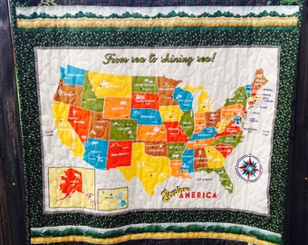 Map quilt   Etsy