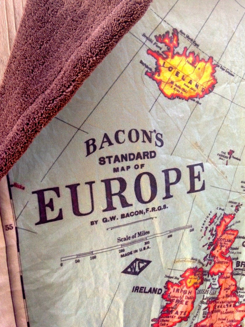 wheelchair lap blanket baby cuddle quilt vintage map of Europe EUROPE Map minky blanket shoulder wrap 31 by 42 inches