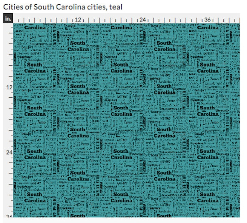 South Carolina Cities fabric teal and black by the yard gray and black