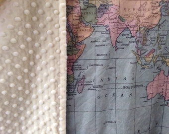 world map minky blanket baby cuddle quilt vintage map of the world