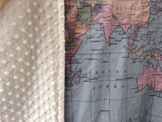 World map minky blanket baby cuddle quilt vintage map of etsy image 0 gumiabroncs Images