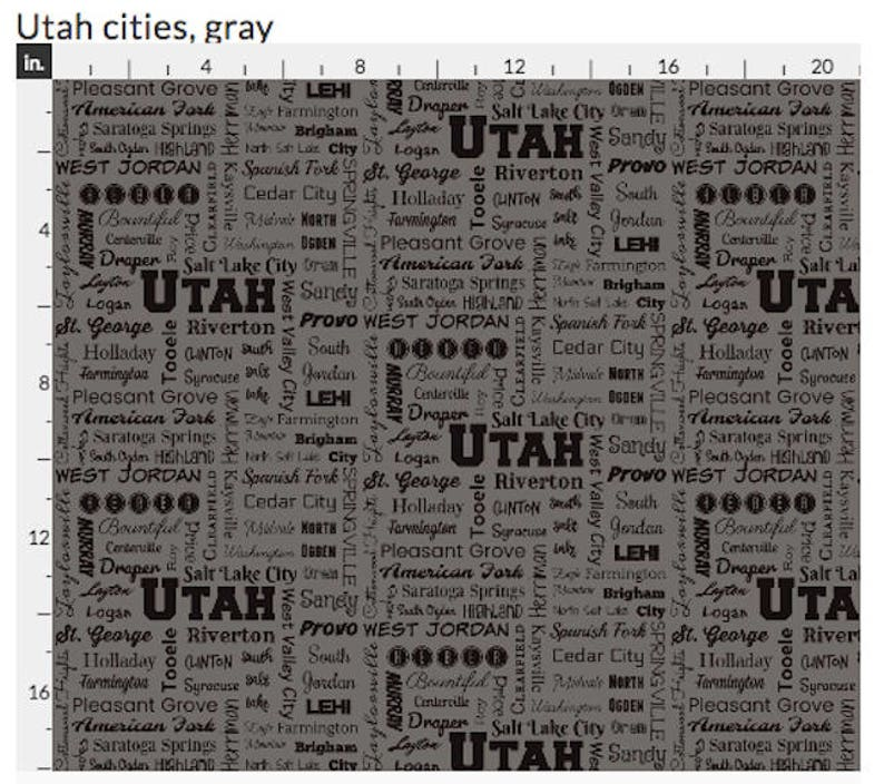 Utah Cities fabric grey and black navy blue and yellow Fat Quarter