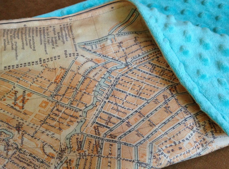 lovie small travel blanky woobie lovey Netherlands baby minky security blankie AMSTERDAM map blanket 14 by 17 inches