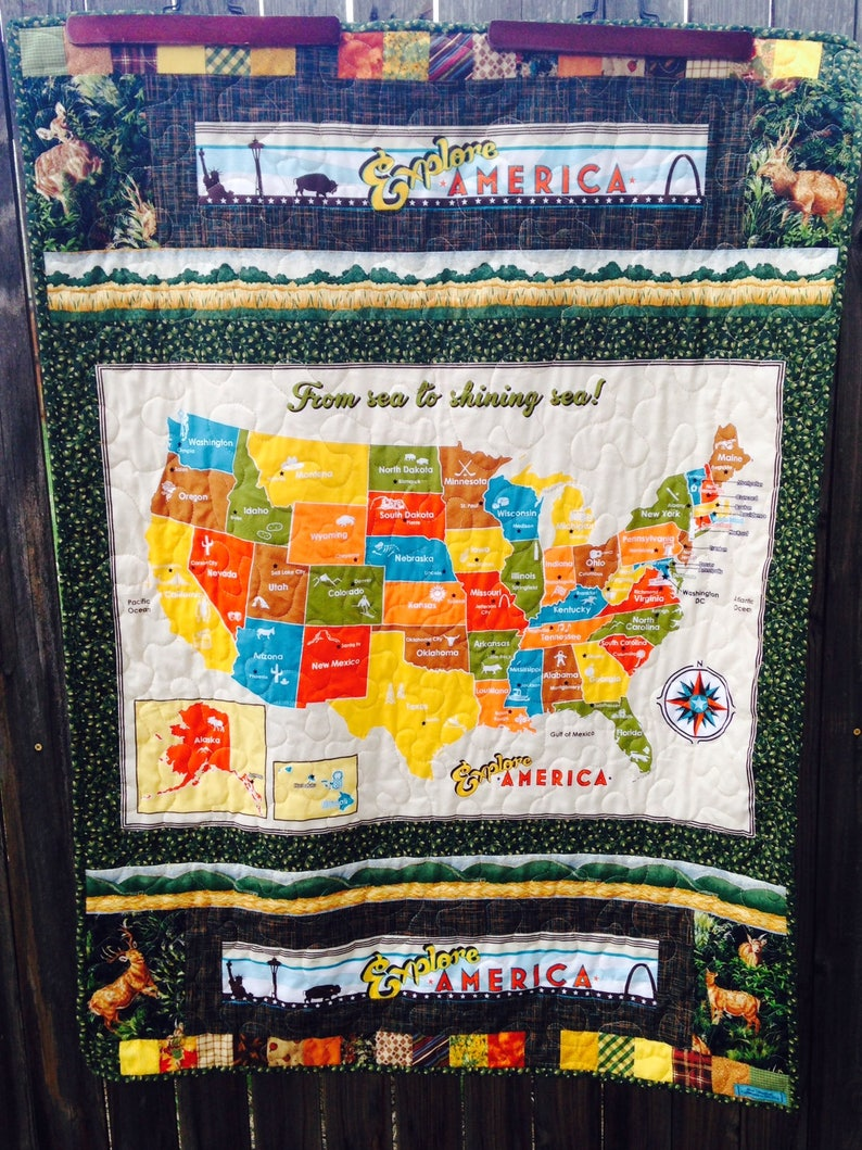 USA Map quilt minky quilted baby or wheelchair blanket map   Etsy