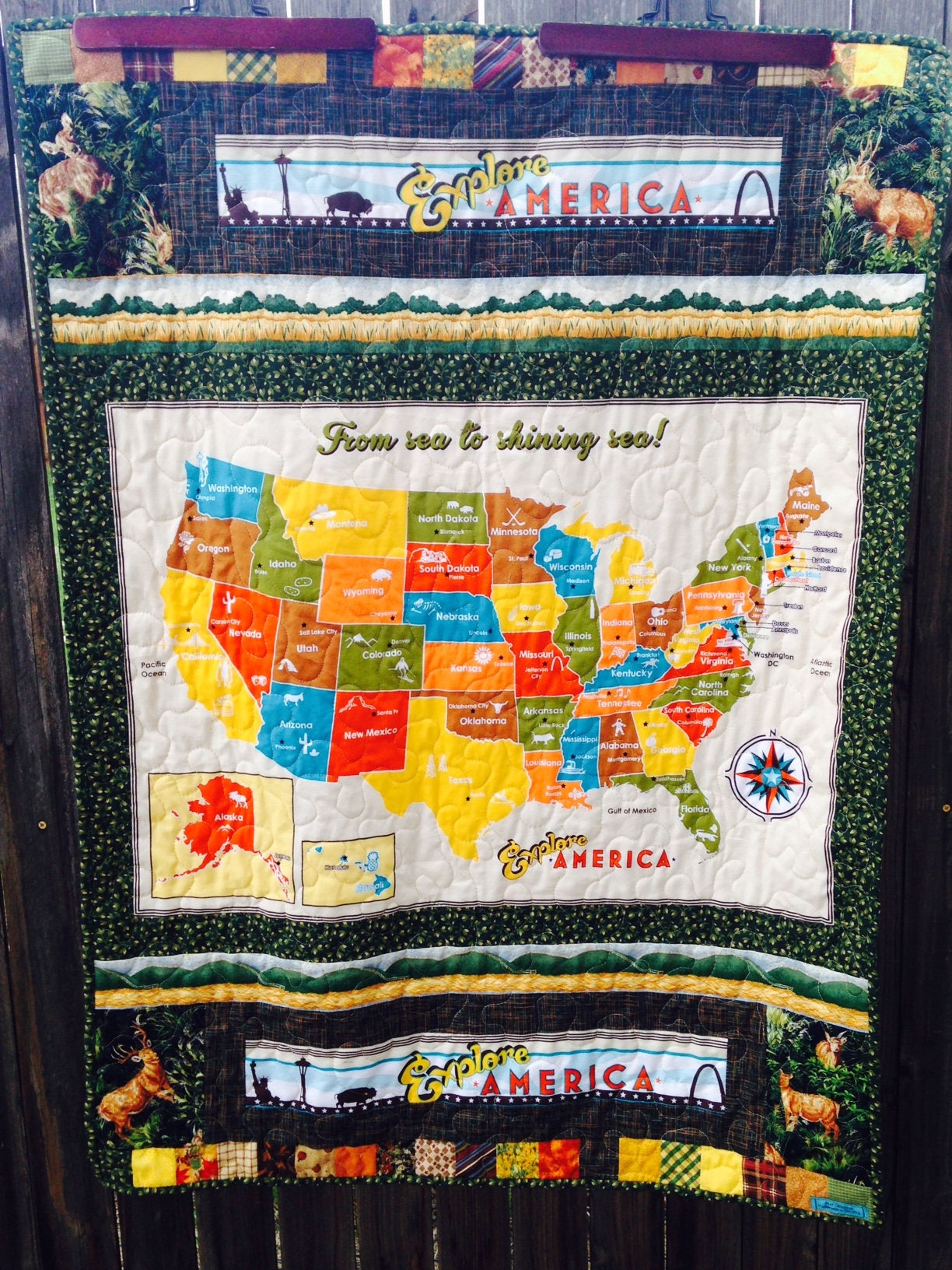 Usa Map Quilt Minky Quilted Baby Or Wheelchair Blanket Map
