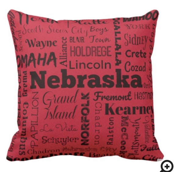 Nebraska Cities Pillow Typography Throw Pillow Red Or Gray Etsy Enchanting Red And Gray Decorative Pillows