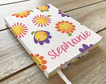Kids Journal / Girls / Personalized notebook / Flowers Painting / Name Personalization / Original art / Back To School / Personalized gift