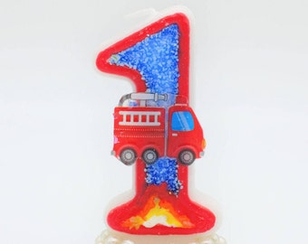 Fire Truck Birthday Engine Theme Candle Fireman Firetruck Party