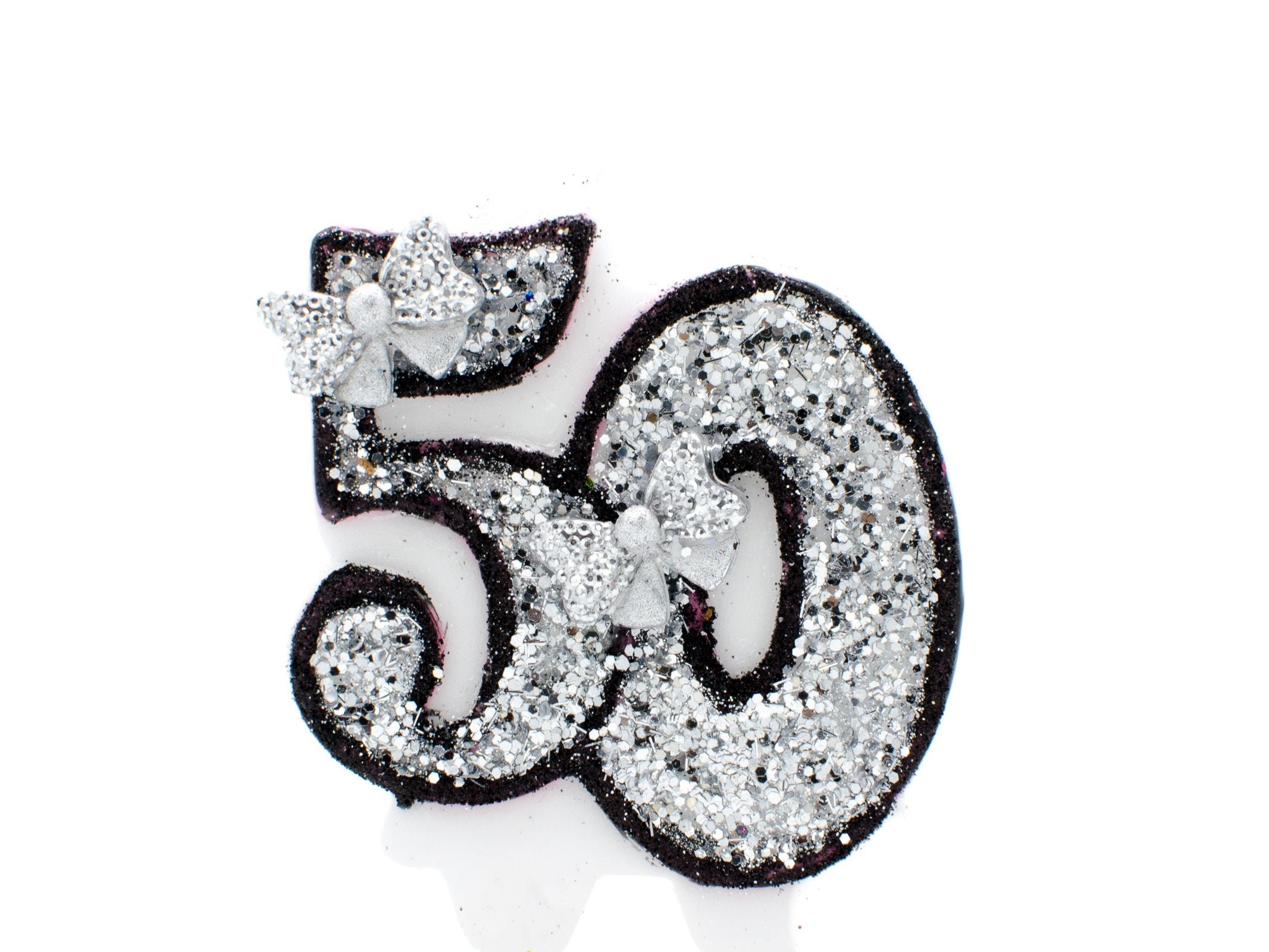 50th Birthday Glitter Candle Fifty Party Decoration