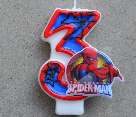 Spiderman Geburtstagskerze Geburtstag Kerze Spiderman Etsy