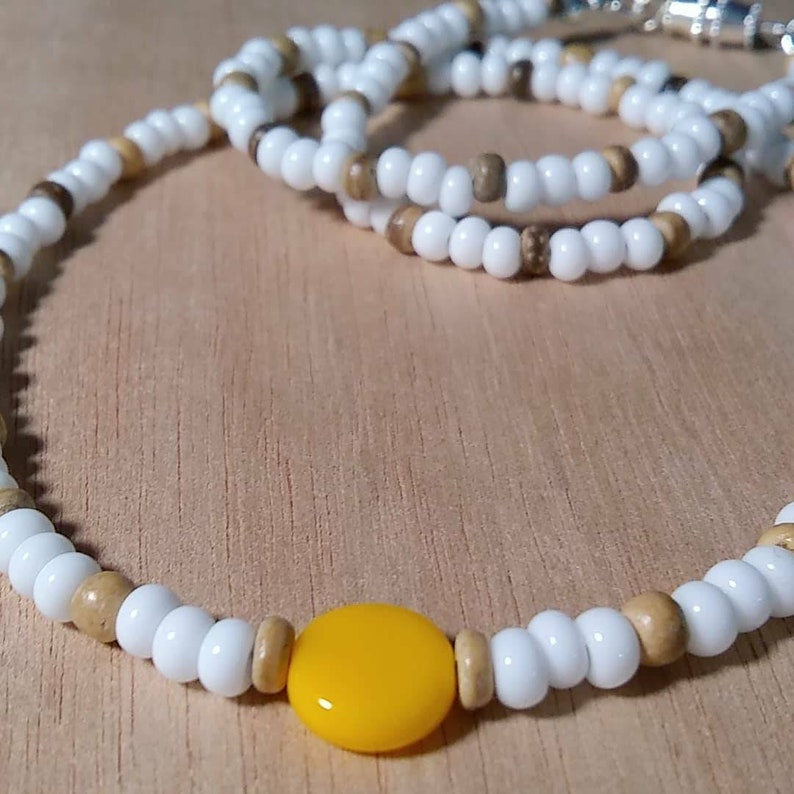 Mens Surfer Necklace  White Beaded Necklace  Hippie Necklace  Surfer Beads  Mens Beaded Necklace  Surfer Jewelry  Amber Wood Necklace