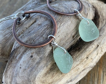 Beach Glass Earrings | Copper and Sterling Sea Glass Earrings | Beach Glass | Sea Glass Earrings | Copper Earrings