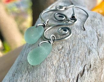 Beach Glass Earrings | Sea Glass Earrings | Beach Glass Jewelry | The Swizzle Sterling Silver Beach Glass Earrings | Beach Glass | Sea Glass