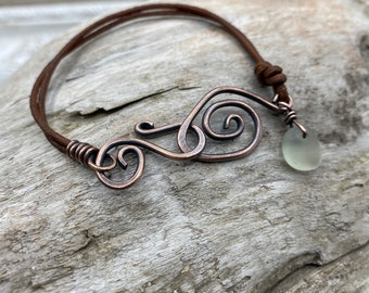 Beach Glass Bracelet | Leather and Copper Bracelet | Sea Glass Bracelet | Leather Bracelet | Copper Bracelet | Beach Glass Jewelry