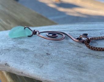Beach Glass Necklace | Sea Glass Necklace | Copper Beach Glass Necklace w/Copper Bail and Box Chain