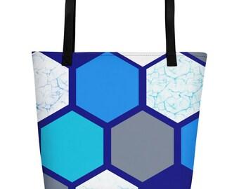 Ocean Dreaming blue hexagons pattern Beach Bag