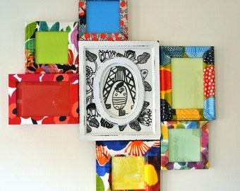 Multi Aperture Frame, Multi Photo Frame, Decoupaged Frame, Decoupage, Colourful Bright Frames, Bespoke, Custom, Commission