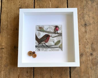 Framed Embroidery, Free Motion Embroidery, Machine Embroidery, Framed Textile Art, Special Gift, Robin, Garden Birds,