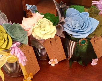 Felt Flower Jars, Felt Flower Tins, Felt Flower Cans, Felt Succulents, Painted Jars, Felt Flower Gifts, Mothers Day Gift, Special Gift