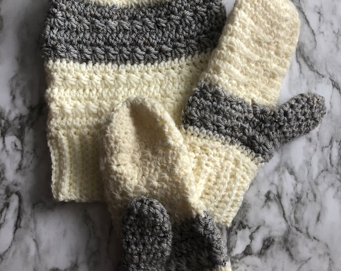 SNOW DROPS Hat & Mittens Set: Cream and Gray Stripe | Crochet hat, crochet mittens, mitts, knit hat, knit mittens, crochet set