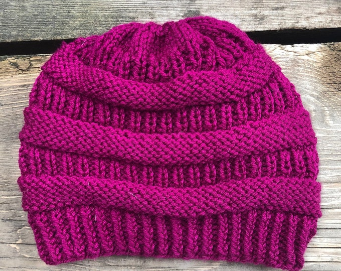 COPYCAT CC BEANIE: Magenta | Knit hat, knitted hat, knit beanie, knit toque, winter hat, slouch beanie