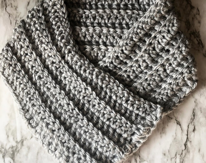 THE QUEEN COWL: Brushed Gray | Cowl, scarf, crochet cowl, crochet scarf, winter cowl, winter scarf