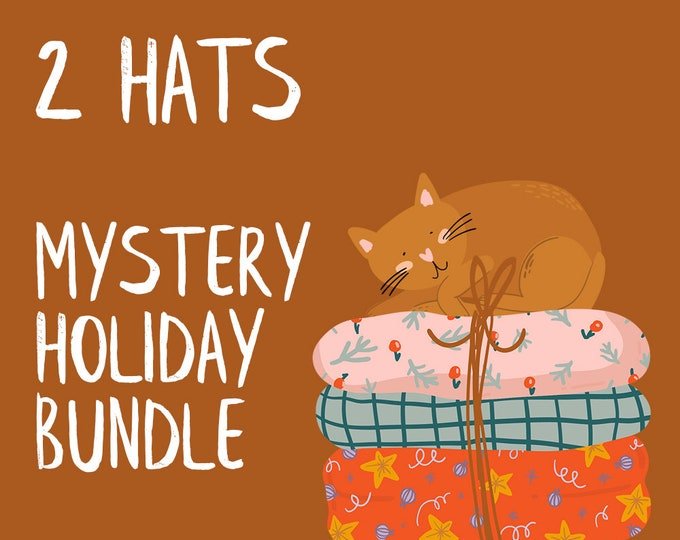 TWO HATS Mystery Holiday Bundle | Knitted hats, crochet hats, winter hats, toque, beanie