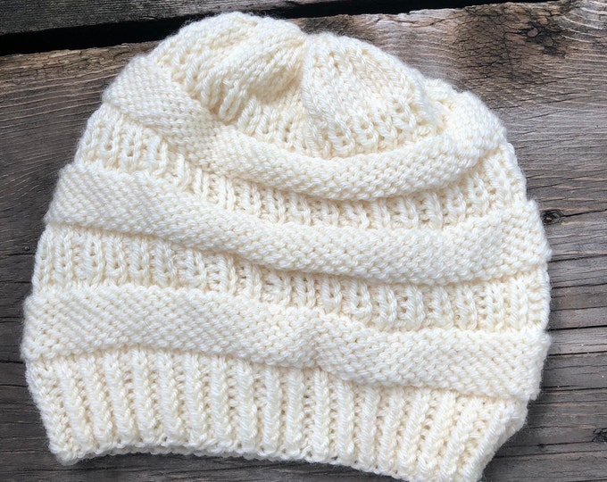 COPYCAT CC BEANIE: Cream | Knit hat, knitted hat, knit toque, knit beanie, winter hat, knitted beanie