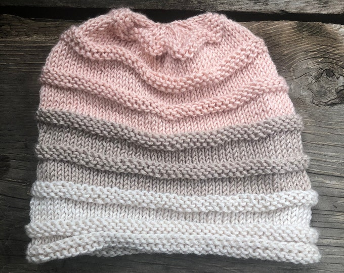 THE JEREMIAH BEANIE: Pink, Sand, Cream | Knitted hat, knit hat, knit beanie, warm hat, winter hat, toque