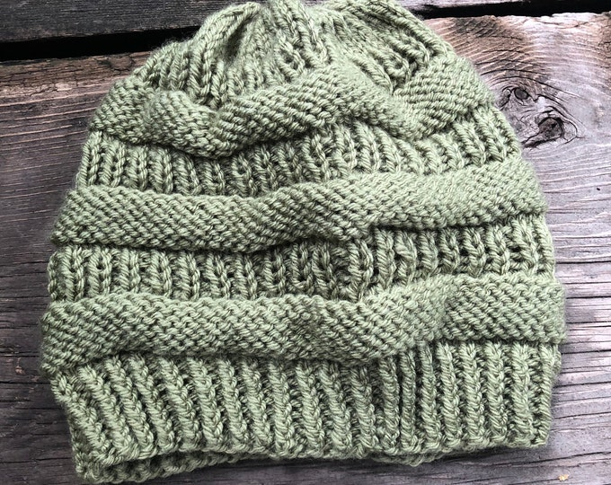 COPYCAT CC BEANIE: Pale Green | Knit hat, knitted hat, knit beanie, knit toque, winter hat