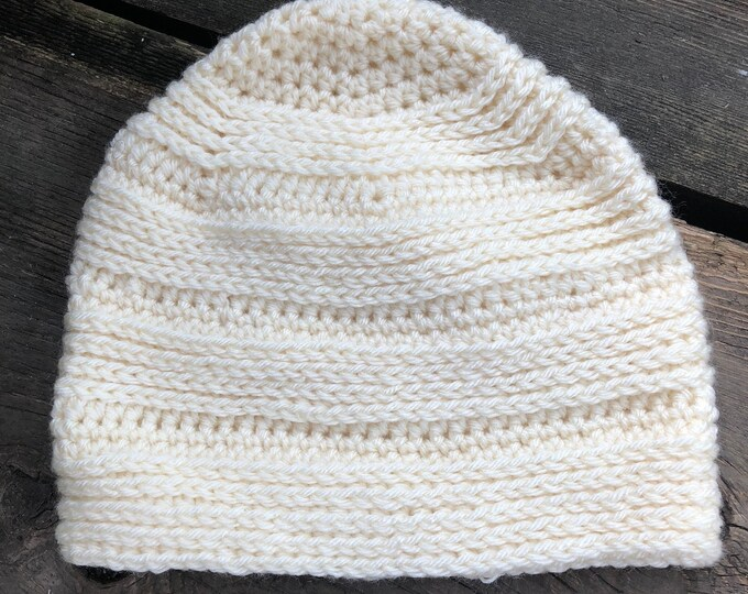 GREAT DIVIDE BEANIE: Cream | Crochet hat, crochet beanie, crochet toque, winter hat, knit hat, knitted hat