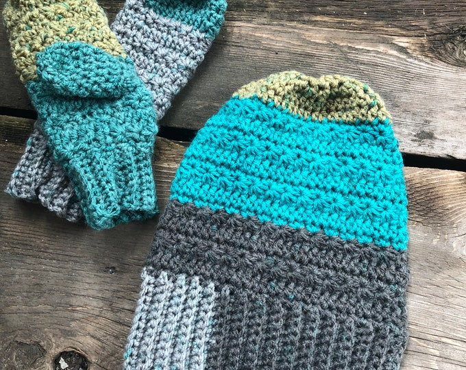 SNOW DROPS Hat & Mittens Set: Blue, Green, Gray | Crochet hat, crochet mittens, crochet set, winter set, knit hat, knit mittens