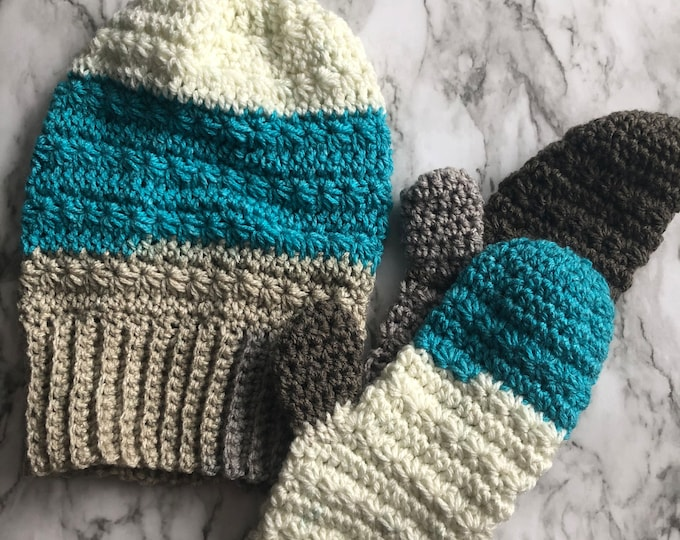 SNOW DROPS Hat & Mittens Set: Blue, Gray, Cream | Crochet hat, crochet mittens, mitts, knit hat, knit mittens, crochet set