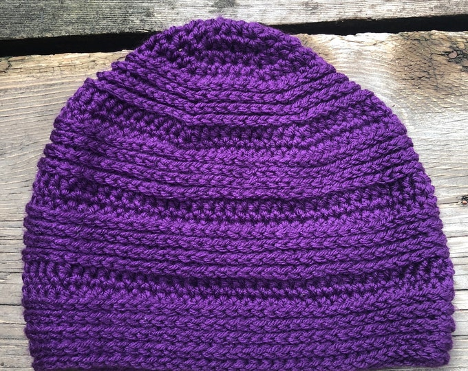 GREAT DIVIDE BEANIE: Purple | Crochet hat, crochet beanie, crochet toque, winter hat, snug beanie, knit hat, knitted hat