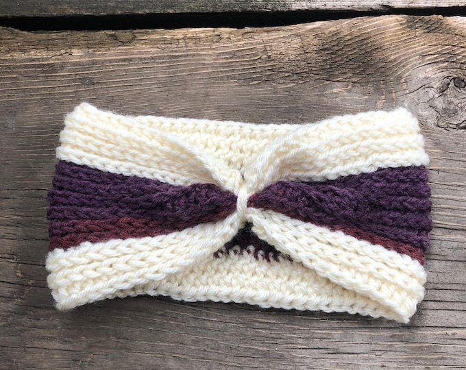 Ribbed Cinched Ear Warmer: Cream and Purple | Crochet headband, crochet ear warmer, winter headband, winter ear warmer