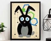 Mid Century Modern Art Giclee Print Rabbit Lover Gift - Bunny Art Print Wall Decor Rabbit Print Unique Gift Retro Art Print Atomic Cat Print