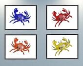 Set of 4 Giclee Print Crab Art crab decor beach art beach decor nautical art nautical decor ocean art ocean decor beach house decor tropical