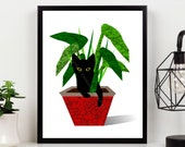 Cat Art Print - Mid Century Modern Art Giclee Print Cat Lover Gift- Cat Art Poster Wall Decor Cat Print Retro Art Print, Black Cat Art Print