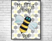 Honey Bee Nursery Print Bee Nursery Wall Art Bee Nursery Print Baby Bumblebee Print Neutral Nursery Art Neutral Nursery Decor Giclee Print