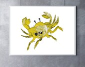 Giclee Print Yellow Crab Art crab decor beach art beach decor nautical art nautical decor ocean art ocean decor beach house decor tropical