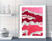 Abstract Modern Art Giclee Print Abstract Wall Art Abstract Painting Abstract Art Print Mountain Wall Art pink red abstract line art