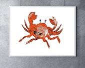 Giclee Print Orange Crab Art crab decor beach art beach decor nautical art nautical decor ocean art ocean decor beach house decor tropical