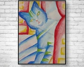 Modern Art Cat Watercolor Painting Giclee Print Cat Lover Gift -Cat Art Poster Wall Decor Cat Print Unique Cat Lover Gift mixed media art