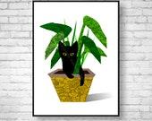 Mid Century Modern Art Giclee Print Cat Lover Gift - Cat Art Poster Wall Decor Cat Print Tropical Decor Retro Art Print, Black Cat Art Print