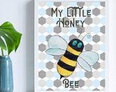 Honey Bee Nursery Print Bee Nursery Wall Art Bee Nursery Print Baby Bumblebee Print New Baby Boy Gift Cute Nursery Decor Giclee Bee Print