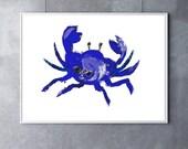 Giclee Print Blue Crab Art crab decor beach art beach decor nautical art nautical decor ocean art ocean decor ocean animal beach house art