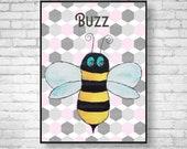 Honey Bee Nursery Print Bee Nursery Wall Art Bee Nursery Print Baby Bumblebee Print New Baby Girl Gift Cute Nursery Decor Giclee Bee Print