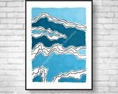 Abstract Modern Art Giclee Print Abstract Wall Art Abstract Painting Abstract Art Print Mountain Wall Art blue decor abstract line art